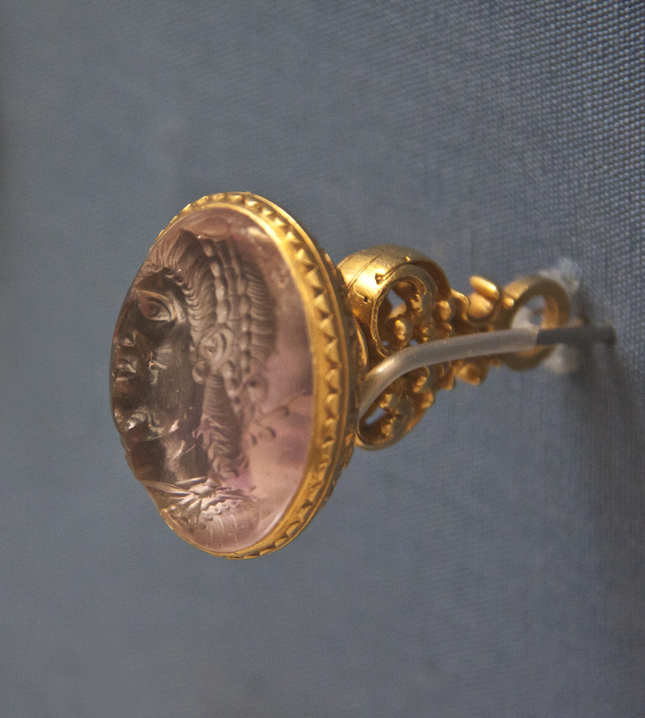 Side view - Amethyst engraved with a portrait of the emperor Constantius II, Roman, about AD 360