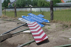 fallen road signs