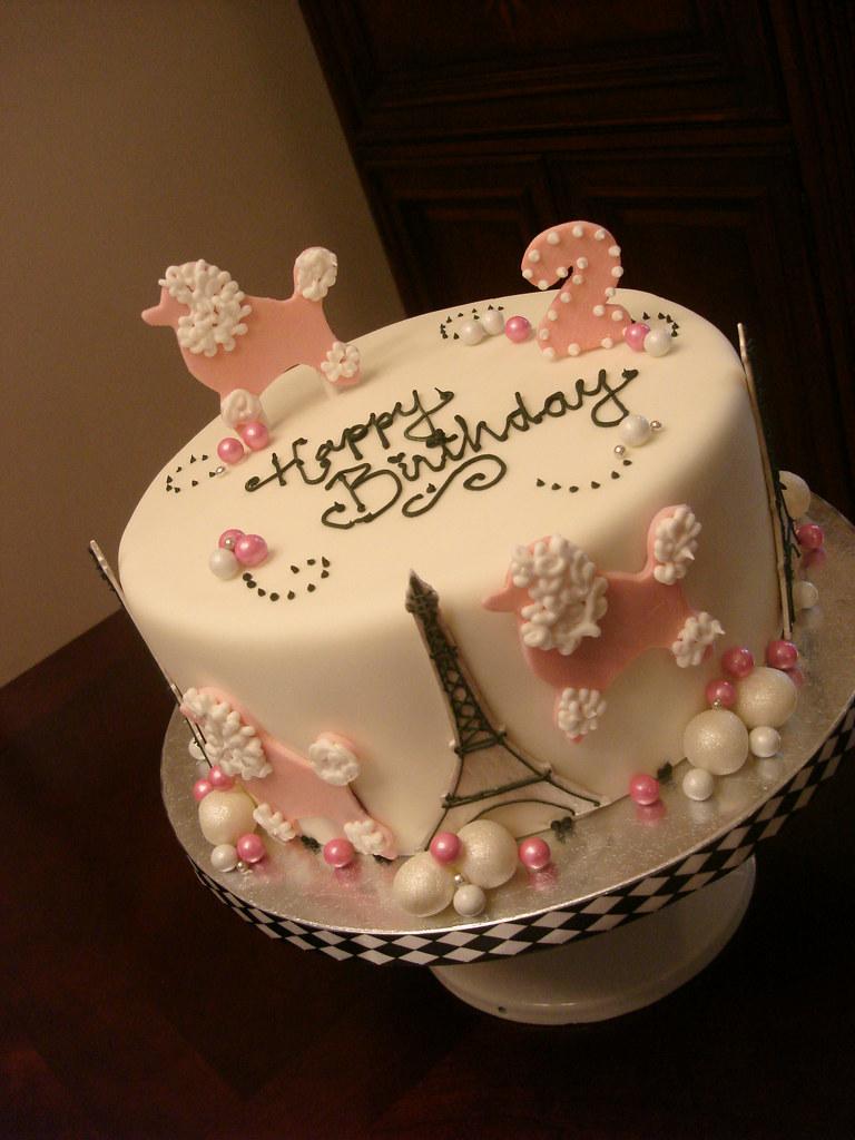 Super Pink Poodles In Paris Birthday Cake See More At Madelizas Flickr Personalised Birthday Cards Akebfashionlily Jamesorg