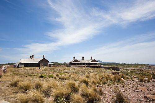 blue sky grass buildings island view australia vic gabo tussocks gaboislandadventure merimbulaairservices