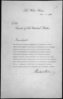 Message of President Woodrow Wilson nominating his cabinet, 03/05/1913