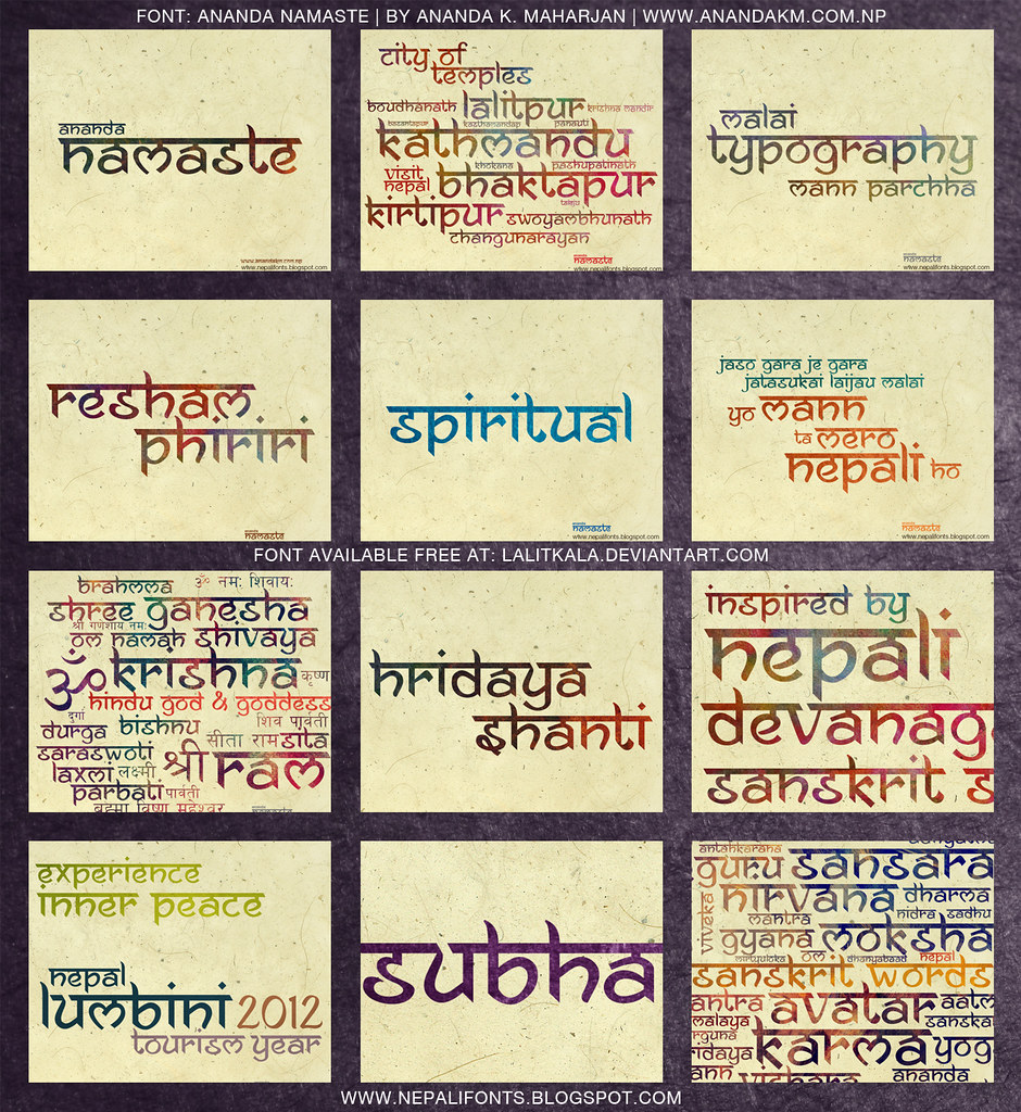 ananda namaste free font | Free Download available at: lalit