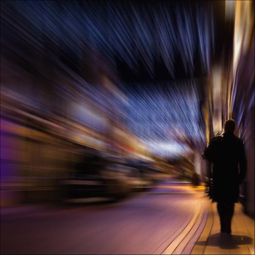 street winter shadow man blur night lights solitude december alone