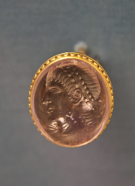 Amethyst engraved with a portrait of the emperor Constantius II, Roman, about AD 360