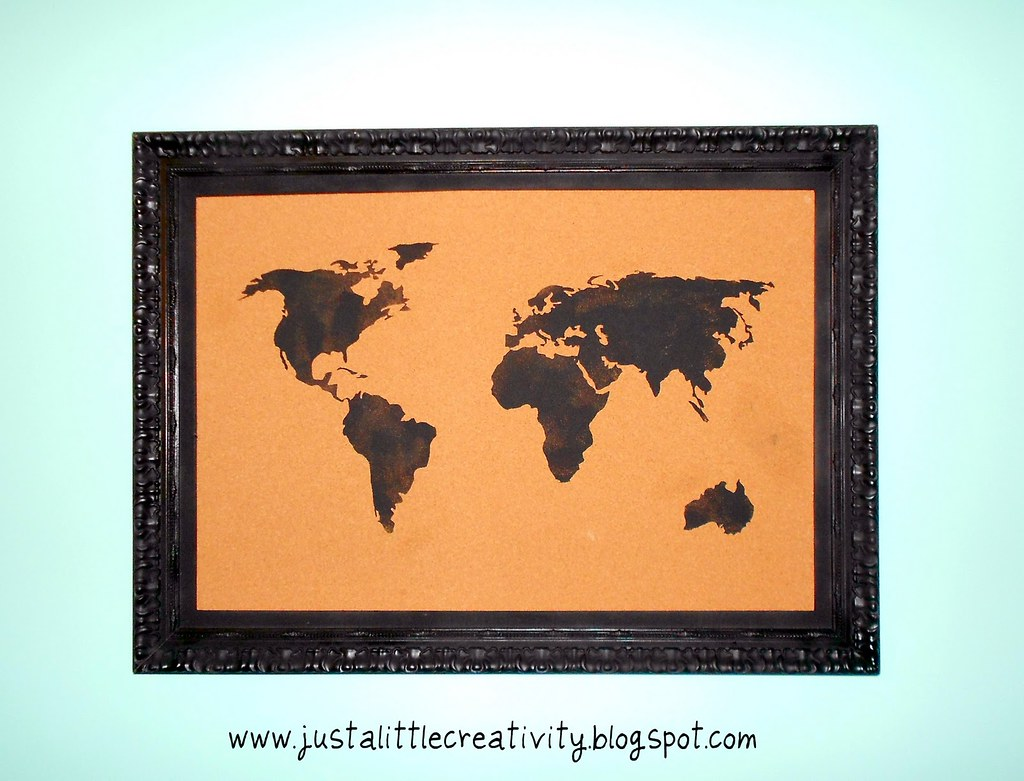 travel map corkboard using silhouette cameo