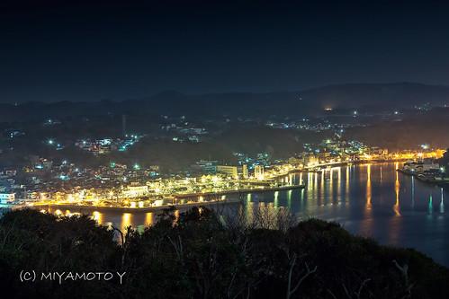light sea reflection japan night bay harbor nightscape nightview sagapref