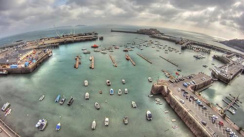 white kite st rock port boats pier dock kevin harbour wide aerial cranes peter crown kap guernsey kiteaerialphotography lajoie 960 photomatix gopro aeriali kevinlajoie