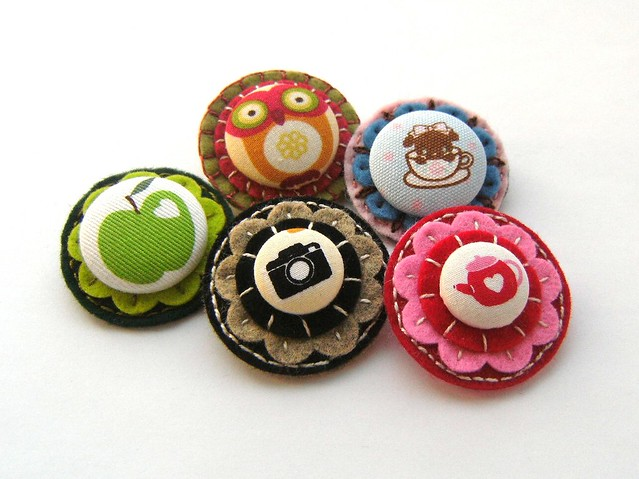 Covered Button Pin Brooches!
