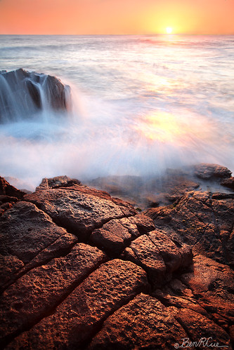 ocean sunset orange sun hot texture waterfall rocks salamander spray filter nelsonbay portstephens annabay interestinglandscape
