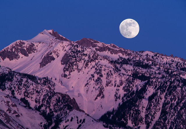 Moonrise over Wasatch Mountains, Utah