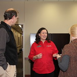 Staci Johnson welcomes visitors to the Career Management Center during the Rawls Open House.