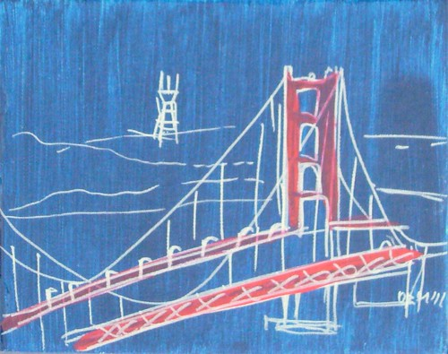 Red and Blue GG Bridge with Sutro Tower | by oanaart