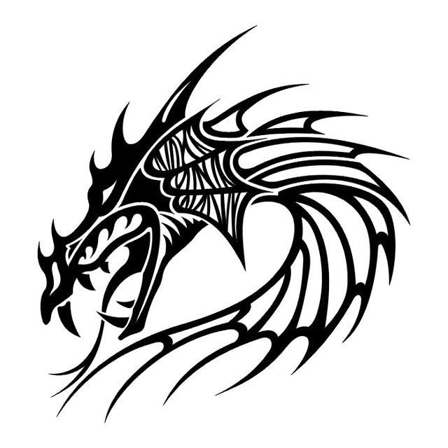 Tattoo flash dragon tribal 170+ Tribal