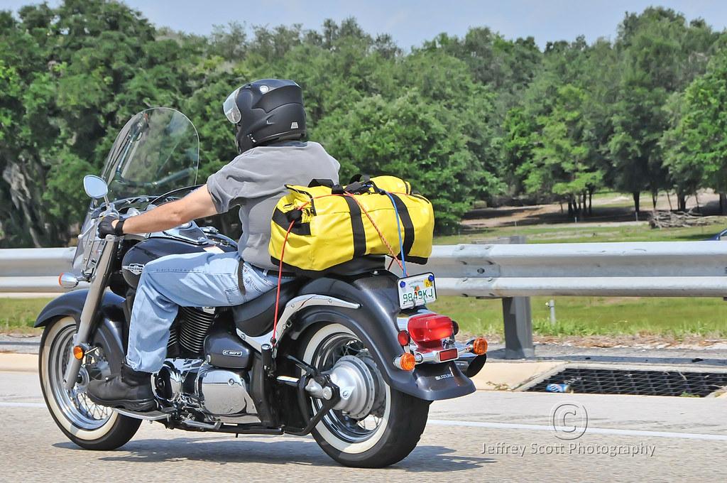 Biker on the way to Tampa, Fla.