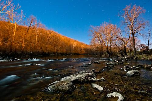 trees winter sky cold water night river dark stars rocks glow rapids roanokeriver