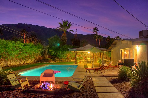 california sunset house pool architecture modern design twilight backyard palmsprings alexander hdr firepit midcentury racquetclub purplehour williamkrisel