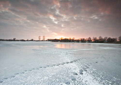 winter sunset lake ice night frozen cloudy patterns pwwinter
