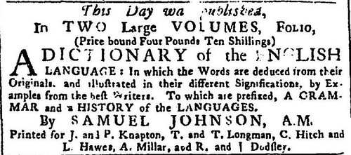 15th April 1755 - Publication of Samuel Johnson's Dictionary of the English Language | by Bradford Timeline