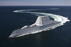 The future USS Zumwalt (DDG 1000) transits the Atlantic Ocean during acceptance trials in April. (U.S. Navy file photo)