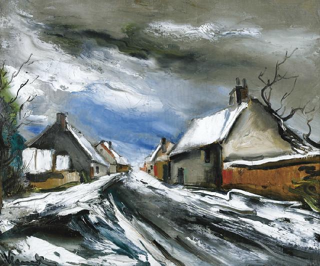 [ V ] Maurice de Vlaminck - Rue de Village sous la Neige