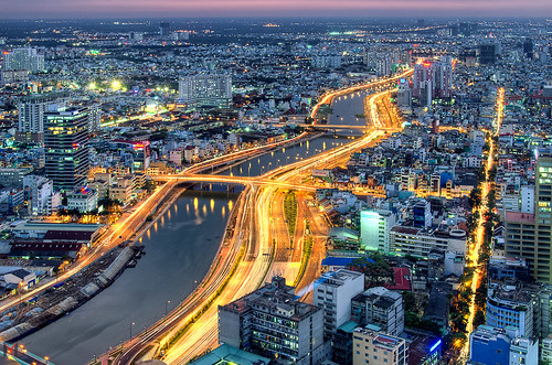 street city longexposure panorama night photography dawn evening nikon horizon ngc vietnam portfolio saigon hochiminhcity birdseyeview hdr ngs pannorama 18105mm d7000