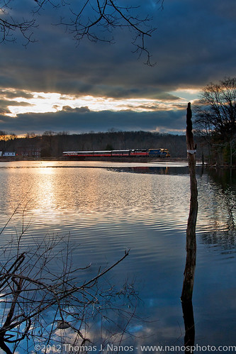 railroad sunset cloud water cn train river ma ct passenger pw canadiannational necr newenglandcentral providenceandworcester