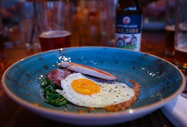 Rabbit Sausage, Egg, Arugula, Mustard, Parmesan Paired w/ Fat Tire - Table9