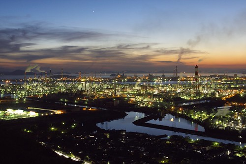 sunset sea chimney sky cloud canal crescent nightview jupiter overlook chemicalplant kurashiki mizushima dmcg1