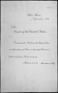 Message of President Theodore Roosevelt nominating William H. Taft of Ohio to be Secretary of War, 01/04/1904