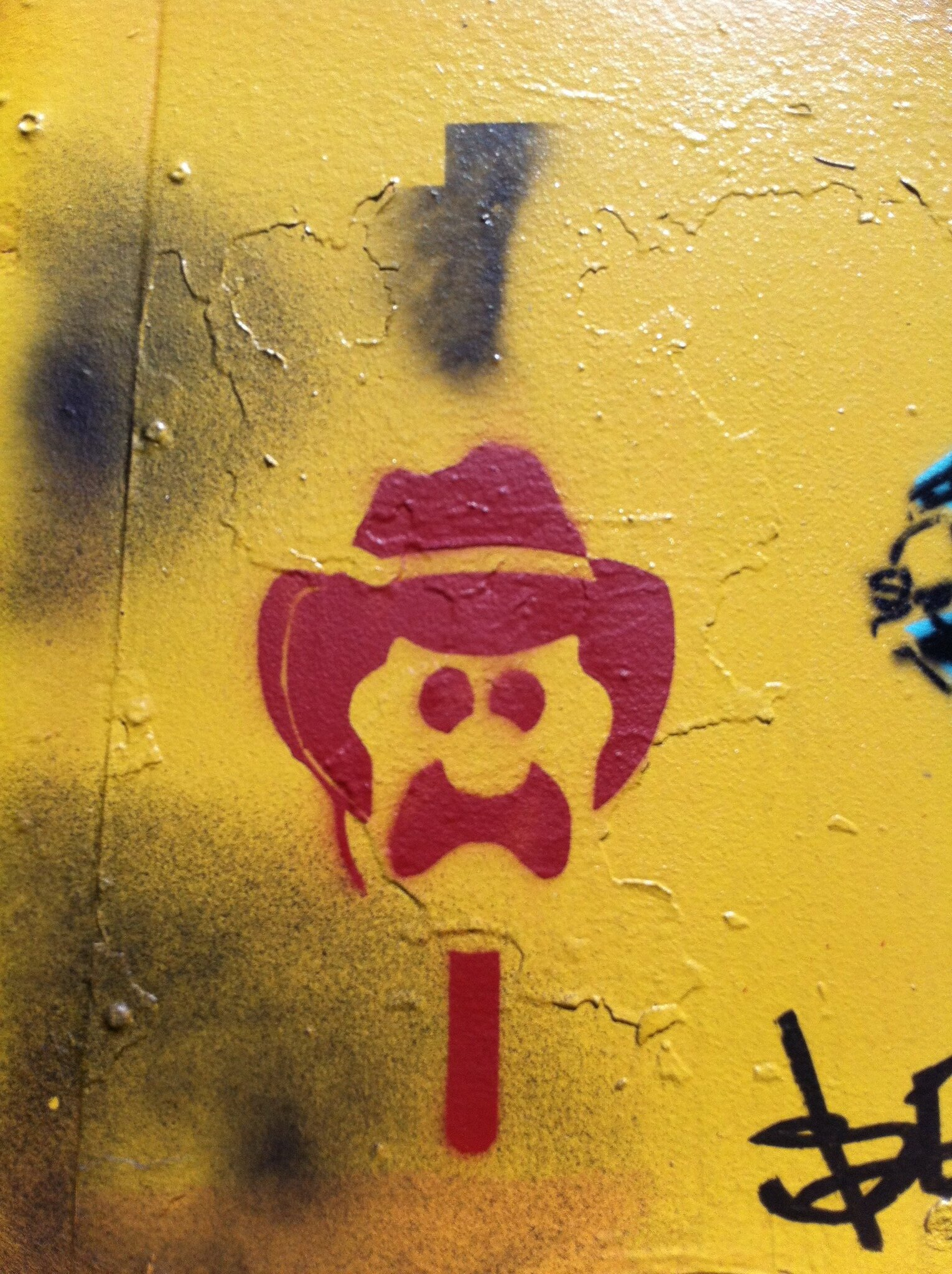 Stencil painting of Bubble O'Bill.