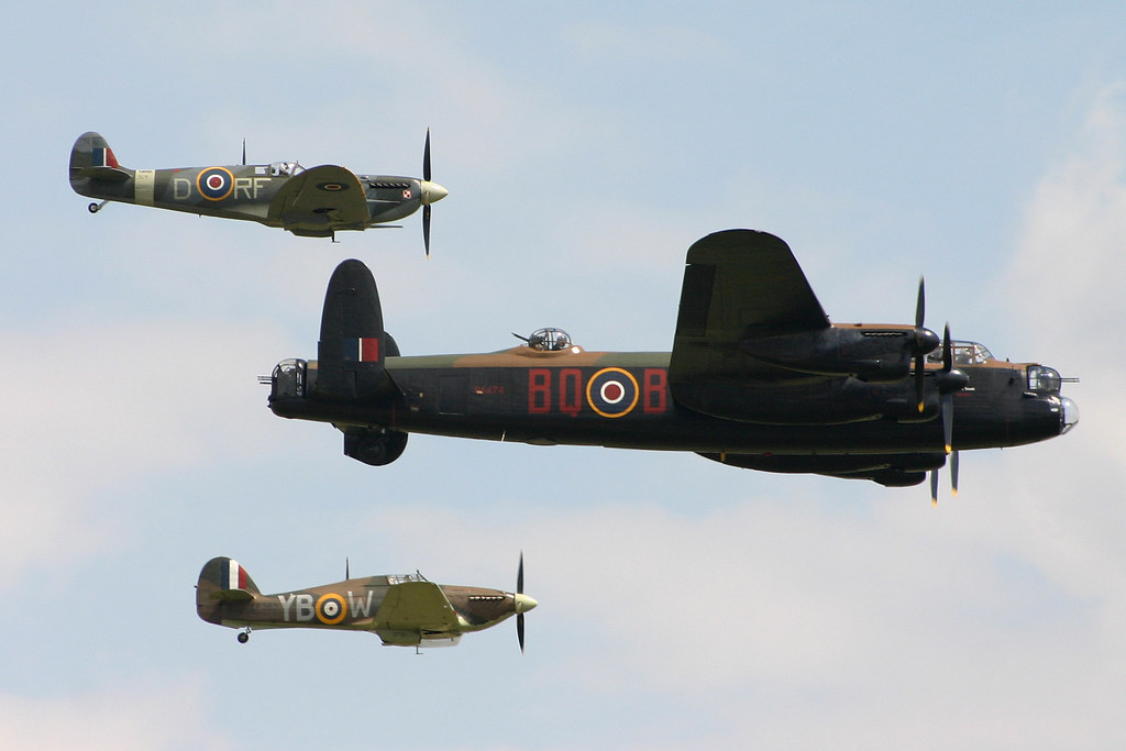 RAF BBMF Trio of Lancaster BI 'PA474', Hurricane IIc 'LF363' & Spitfire V 'AB910'