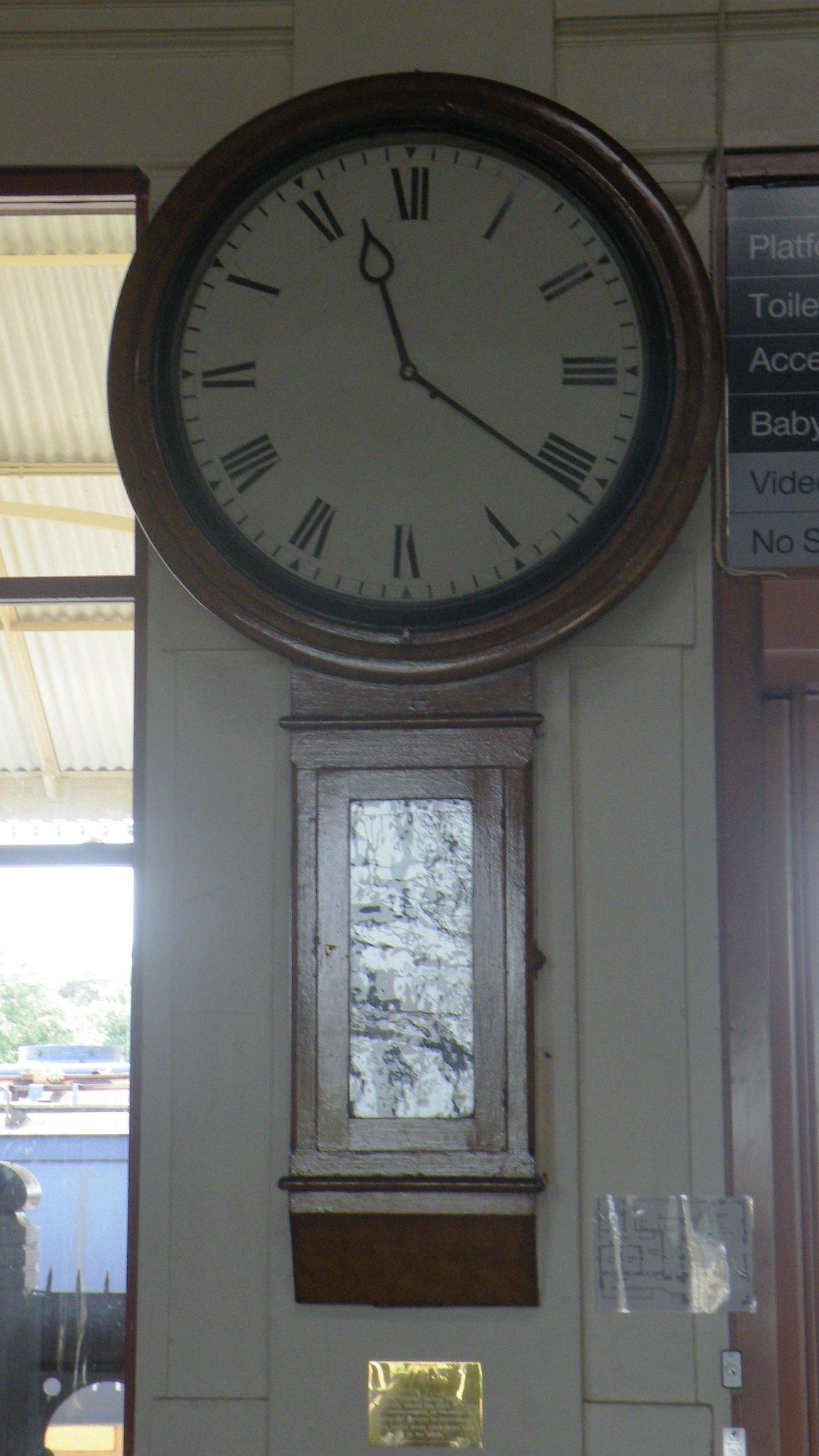 Old Clock inside booking hall at Maryborough Railway Station by denmac25