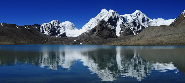 view across lake gurudongmar, in summer months when the lake is not frozen