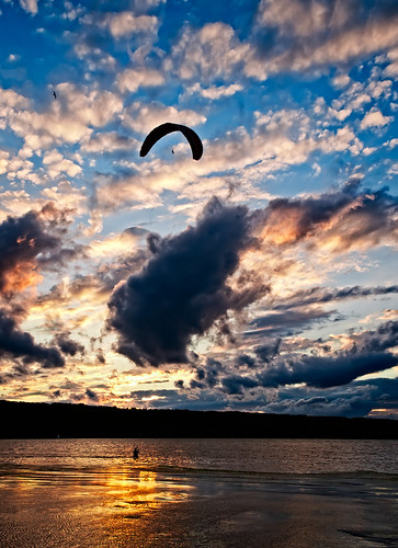 sunset summer lake ny newyork clouds ithaca cayugalake tompkinscounty parasurfing