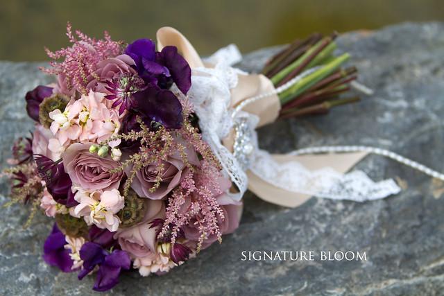 Wedding Flowers San Jose, Mauve Vintage Bouquet
