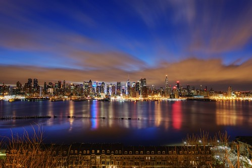 city nyc newyorkcity longexposure cloud ny newyork reflection skyline night reflections geotagged dawn newjersey apartment timessquare esb bankofamerica hudsonriver empirestatebuilding gothamist bluehour predawn edgewater hdr hoboken condominium newyorktimes barclay weehawken unionhill onepennplaza mudpig stevekelley stevenkelley