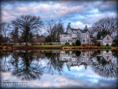 morning winter house reflection fall clouds sunrise landscape pond nikon december smooth victorian longisland clear argyle babylon hdr argylelake babylonvillage nikond90 babylonandbeyond fineplatinumgallery