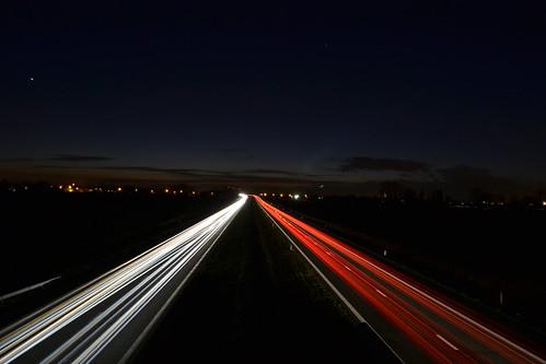 sunset traffic calais veurne autosnelweg e40