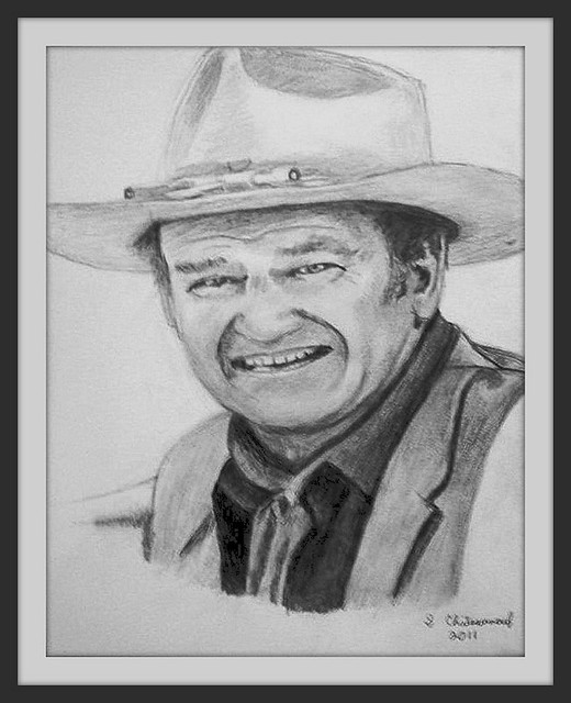 John Wayne - Pencil Drawing by snc145 (2011) - Photo Of Drawing Also by snc145