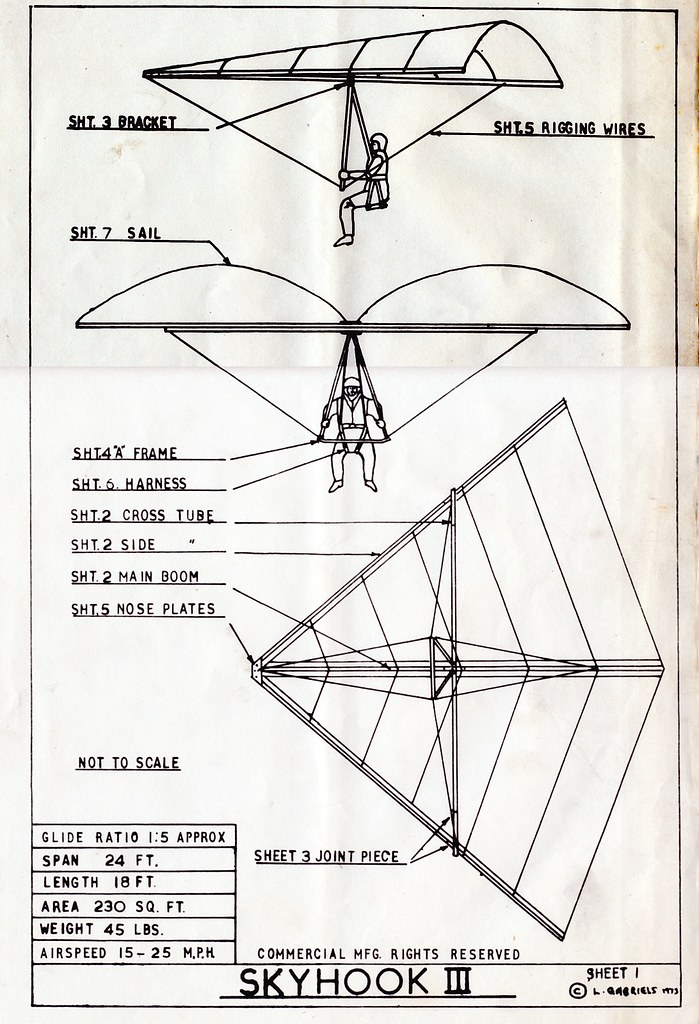 1973 Len Gabriels skyhook 3 hang glider No king post - bou