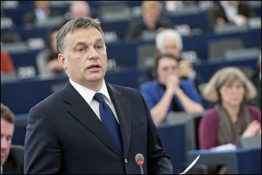 Victor Orban during the debate on the political situation in Hungary