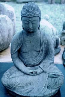 Buddha statue in meditation pose, robe, blue, concrete, Lake City Way, Seattle, Washington, USA | by Wonderlane