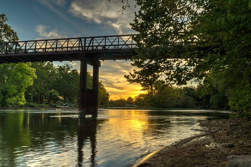 trees sunset sky reflection tree clouds reflections river geotagged evening nikon unitedstates footbridge indiana elkhart hdr goldenhour stjosephriver nikond5300