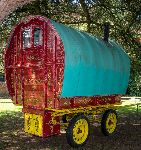 A horse-drawn bowtop gypsy caravan now used as a child's bedroom