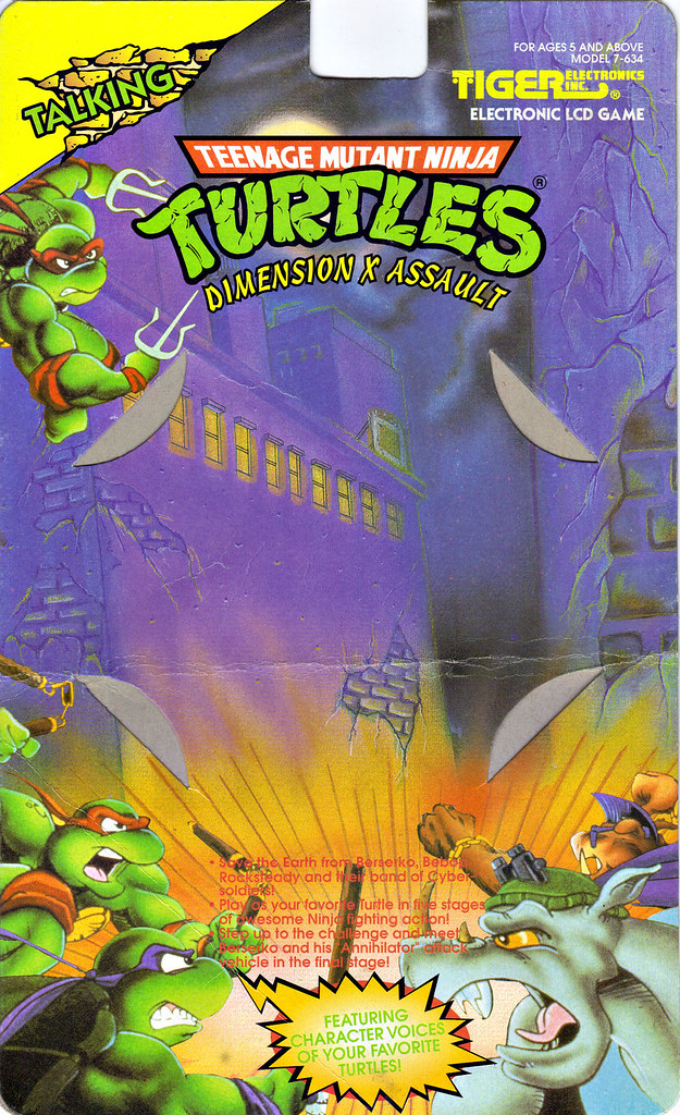 "TIGER ELECTRONICS :: ""TEENAGE MUTANT NINJA TURTLES: DIMENSION-X ASSAULT"" 'TALKING' ELECTRONIC LCD GAME ..card backer i (( 1995 )) by tOkKa"
