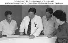 Dr. Bruce Eastick AM, first official visitor to Gawler East Primary School 1985