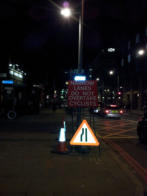 A third sign on Tooley street telling drivers not to overtake cyclists near London Bridge station