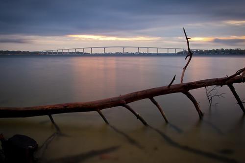 longexposure morning bridge water clouds sunrise dawn shoreline maryland chesapeake patuxent stmarys chesapeakebay solomons stmaryscounty