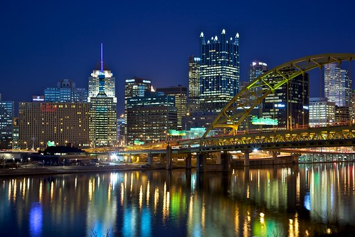 bridge night reflections river lights cityscape skyscrapers bluehour traffictrails downtownpittsburgh fortpittbridge westcarsonstreet