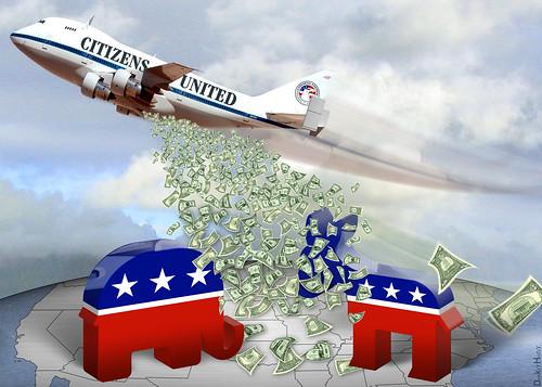 Citizens United Carpet Bombing Democracy - Cartoon | by DonkeyHotey